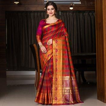 multicolor woven Cotton Blend saree with blouse