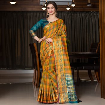 multicolor woven Cotton Blend saree with blouse