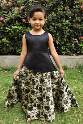 Kids Black Top And Golden Lehenga Choli