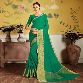 Green woven Chiffon saree with blouse