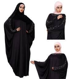 Women'S Pearl Work Plain Black Abaya With Hijab Scarf