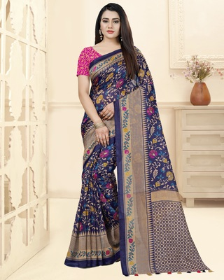 Blue Printed Tussar Silk Saree With Blouse