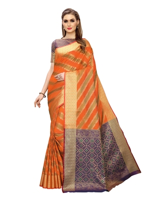 Orange woven poly silk saree with blouse