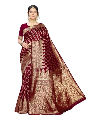 Maroon woven poly silk saree with blouse