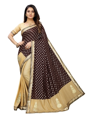 Beige embroidered lycra saree with blouse