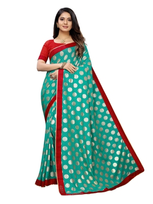 Turquoise printed lycra saree with blouse