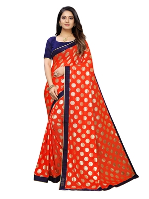 Orange printed lycra saree with blouse