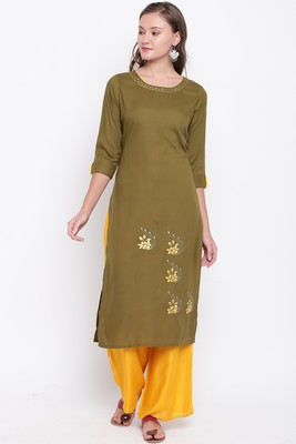 women's embroidered/solid straight rayon mehendi green kurti