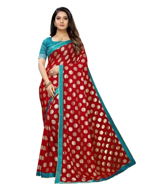 Red printed lycra saree with blouse