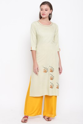 women's embroidered/solid straight rayon light pista kurti