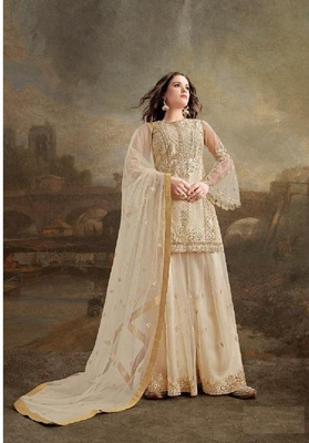 Beig Net With Heavy Embroidery Work Plazzo Pakistani Suit