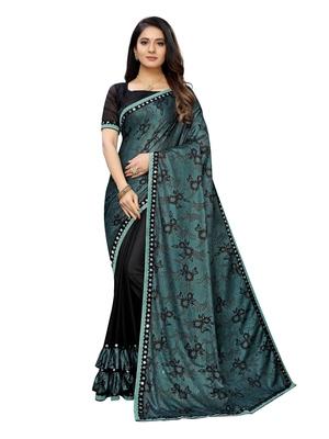 Black printed lycra saree with blouse