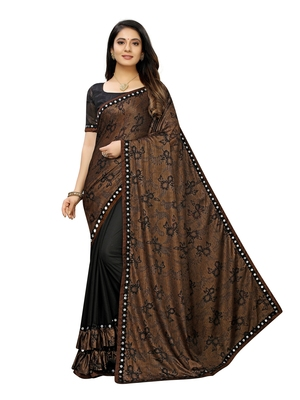 Black printed lycra saree with blouse