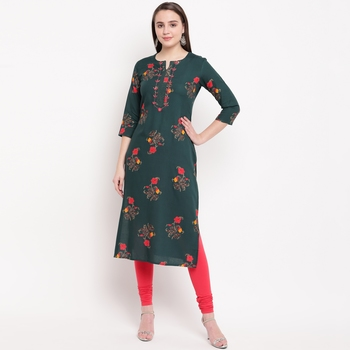 women's foil printed straight rayon green kurti