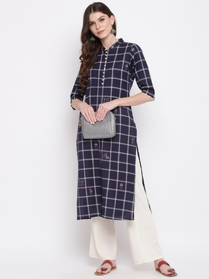 women's printed straight cotton navy blue kurti