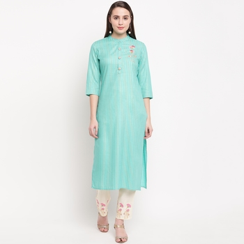 women's embroidered straight rayon sky blue kurti with pant set