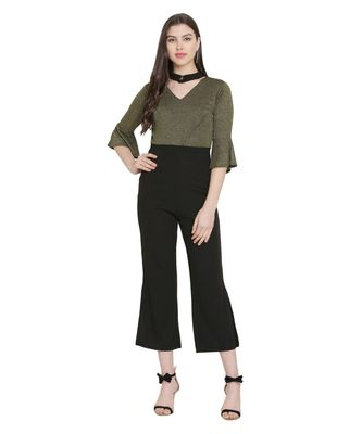 Olive Green Color Lycra Fabric Jumsuit