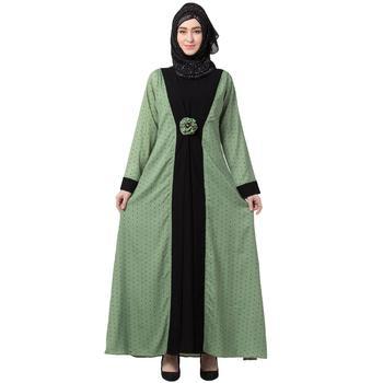 Polka Dotted Layered Abaya- Green-Black