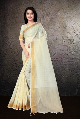 Lemon hand woven linen saree with blouse