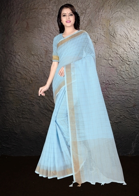 Sky blue hand woven linen saree with blouse