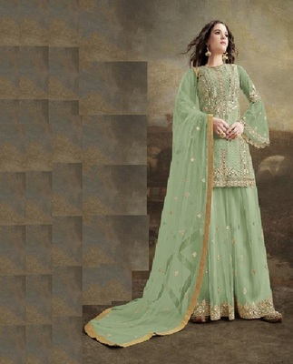 Pista Green Net With Heavy Embroidery Work Plazzo Pakistani Suit