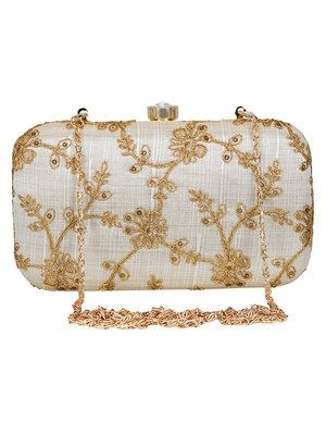 Anekaant Tulle Embroidered Sequines Faux Slik Clutch Offwhite & Gold