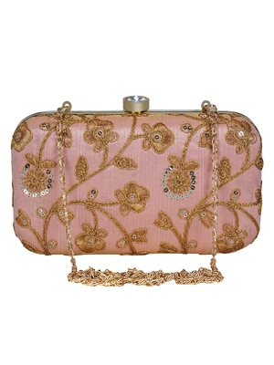 Anekaant Tulle Embroidered Sequines Faux Slik Clutch Peach & Gold