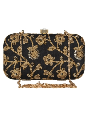 Anekaant Tulle Embroidered Sequines Faux Slik Clutch Black & Gold