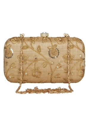 Anekaant Tulle Embroidered Sequines Faux Slik Clutch Beige & Gold