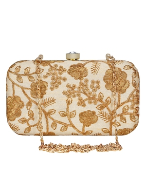 Anekaant Tulle Embroidered Faux Slik Clutch Cream &Gold