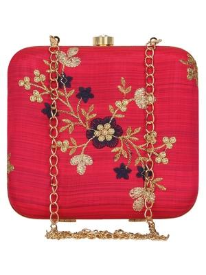 Anekaant Vista Embroidered Faux Silk Box Clutch Fuschia & Gold