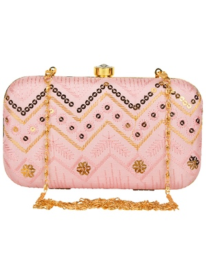 Anekaant Web Embroidered Sequines Faux Silk Clutch Pastel Pink & Gold