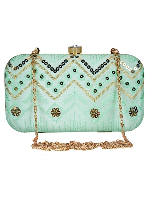 Anekaant Web Embroidered Sequines Faux Silk Clutch Pastel Green & Gold