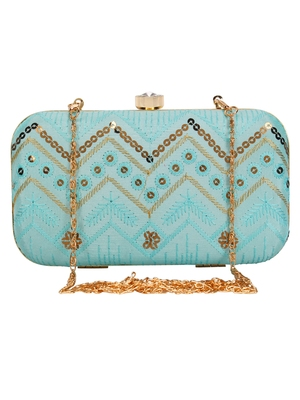 Anekaant Web Embroidered Sequines Faux Silk Clutch Powder Blue & Gold