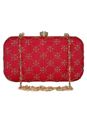 Anekaant Web Embroidered Sequines Faux Silk Clutch Red & Gold