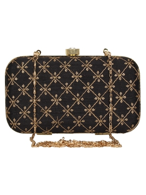 Anekaant Web Embroidered Sequines Faux Silk Clutch Black & Gold