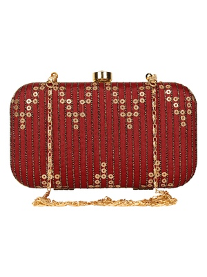 Anekaant Web Textured Sequines Faux Silk Clutch Maroon & Gold