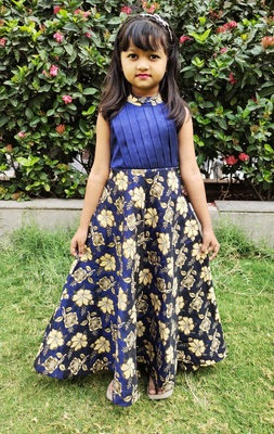 Kids Blue Long Gown For Girls