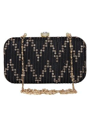 Anekaant Web Textured Sequines Faux Silk Clutch Black & Gold