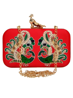Anekaant Adorn Embroidered Faux Silk Clutch Red & Multi