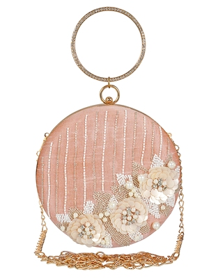Anekaant Gala Sequines Embellished Faux Silk Round Clutch Baby Pink & White