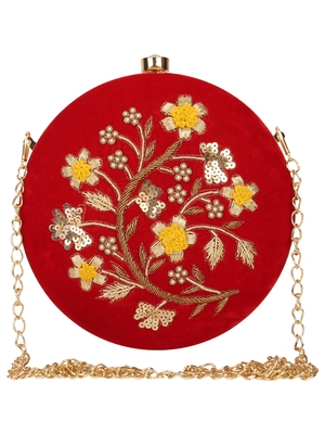 Anekaant Gala Embroidered Velvet Round Clutch Red & Multi