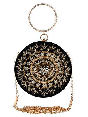 Anekaant Gala Embroidered Velvet Round Clutch Black & Copper