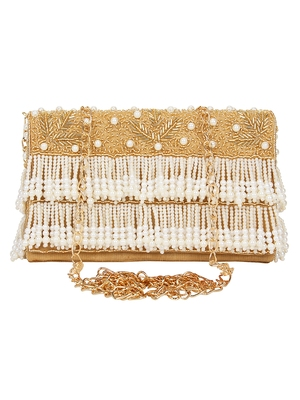Anekaant Oblong Embroidered Faux Slik Clutch Gold & White