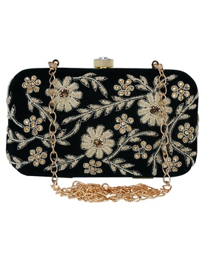 Anekaant Adorn Embellished Velvet Clutch Bottle Green & Gold