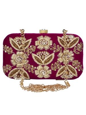 Anekaant Adorn Sequines Embellished Velvet Clutch Magenta & Gold