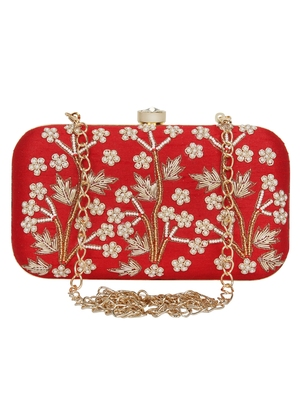 Anekaant Adorn Embellished Faux Silk Clutch Red & White