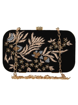 Anekaant Adorn Embroidered Velvet Clutch Black & Multi