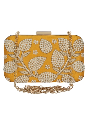 Anekaant Adorn Embellished Faux Silk Clutch Yellow & Pearl Gold