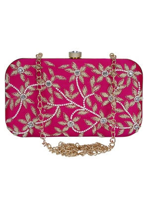 Anekaant Adorn Embellished Faux Silk Clutch Magenta Pink & Gold